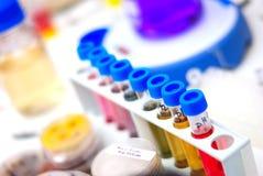 Пробирки химии с химикатами Стоковое Фото