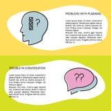 Проблемы с планированием и социальными концепциями связи в линии стиле иллюстрация вектора