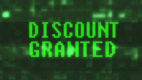 Проблескивая текст слова зеленой скидки предоставленный на вычислительной машине дискретного действия lcd небольшого затруднения  иллюстрация штока