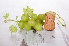 Пробочки бутылки вина и листья виноградины изолированные на задней части белизны Стоковые Фото