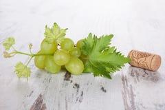 Пробочки бутылки вина и листья виноградины на белом деревянном b Стоковое фото RF