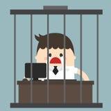 Пробуренный бизнесмен, работая в birdcage, унылый бизнесмен Стоковые Изображения