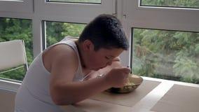 Пробуренный маленький тучный мальчик обедая в кухне, есть tablespoon супа, тучность детства концепции и еду роста видеоматериал
