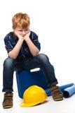 Пробуренный маленький мальчик механика Стоковые Фотографии RF
