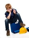 Пробуренный маленький мальчик механика Стоковая Фотография