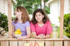 2 пробуренных маленькой девочки продавая лимонад Стоковые Изображения