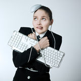 Проблемы компьютера женщины Стоковая Фотография RF