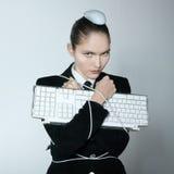 Проблемы компьютера женщины Стоковые Фото