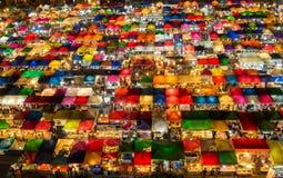 Проверенное взгляд сверху рынка ночи картины Стоковая Фотография
