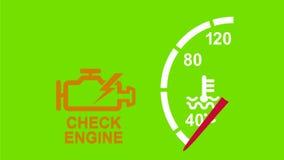 Проверите анимацию предупреждения двигателя 2D акции видеоматериалы