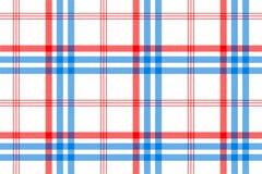 Проверите белую ткань с картиной красных и голубых нашивок безшовной иллюстрация вектора