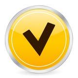проверите желтый цвет символа ico круга Стоковые Изображения RF