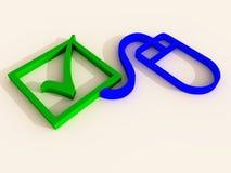 проверите зеленую делая мышь метки иллюстрация штока