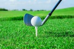 проверите иллюстрации гольфа клуба больше моего пожалуйста резвиться портфолио Зеленые поле и шарик в траве стоковые изображения