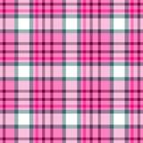 Проверите предпосылку текстуры ткани шотландки тартана диаманта безшовную - розовый цвет Стоковая Фотография