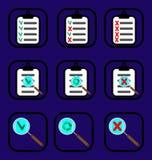 Проверите установленные значки Стоковое Изображение RF