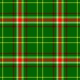 Проверите цвет предпосылки текстуры картины ткани шотландки тартана безшовный - зеленый, красный, желтый и белый Стоковые Фотографии RF