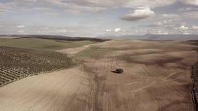Проветрите взгляд HD, засаживая поле, Millenary дуб Holm около Mengibar акции видеоматериалы