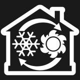 Проветрите значок системы условия, дом с снежинкой, солнце и стрелки иллюстрация штока
