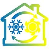 Проветрите значок системы условия красочный, дом с снежинкой, солнце и стрелки иллюстрация штока