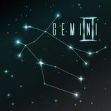 Проветрите символ знака зодиака Джемини, гороскопа, искусства вектора и иллюстрации Стоковое Изображение RF