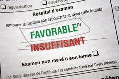 Проведенное испытание лицензии водителя (француз) Стоковые Изображения