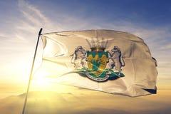 Провинция Лимпопо ткани ткани ткани флага Южной Африки развевая на верхнем тумане тумана восхода солнца бесплатная иллюстрация