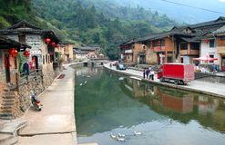ПРОВИНЦИЯ ФУЦЗЯНЯ, КИТАЙ - старая деревня Taxia построенная в 1426, династия Ming стоковые изображения