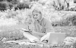 Проводник начиная независимую карьеру Работа дамы дела независимая outdoors Стали успешный фрилансер Женщина с ноутбуком стоковая фотография rf