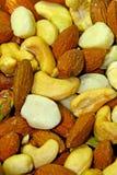 Провозглашанные тост смешанной гайки естественные & посоленные миндалины Стоковое фото RF