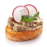 Провозглашанный тост хлеб с домодельным pate печени стоковая фотография