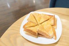 Провозглашанный тост хлеб с маслом и сахаром Стоковые Фотографии RF