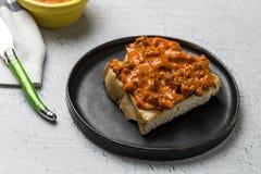Провозглашанный тост хлеб с различными pates Стоковое Изображение