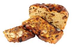 Провозглашанные тост куски хлеба Barmbrack Ирландского сладостные с маслом Стоковое фото RF