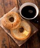 Провозглашанный тост бейгл Стоковые Изображения RF