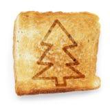 Провозглашанный тост кусок белого хлеба с рождественской елкой Стоковые Изображения RF