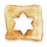 Провозглашанный тост кусок белого хлеба с формой звезды отверстия Стоковая Фотография RF