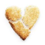 Провозглашанный тост кусок формы сердца белого хлеба Стоковое Фото