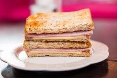 Провозглашанный тост сандвич с ветчиной и сыром стоковое изображение