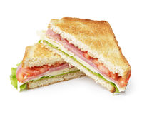 Провозглашанный тост сандвич с ветчиной, сыром и овощами Стоковое Изображение
