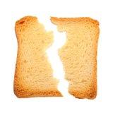 Провозглашанный тост треснутый кусок хлеба Стоковые Фотографии RF