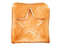 Провозглашанный тост хлеб с формой звезды Стоковое фото RF
