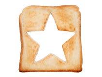Провозглашанный тост хлеб с формой звезды Стоковые Изображения RF