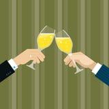 Провозглашать с вином для успеха иллюстрация штока