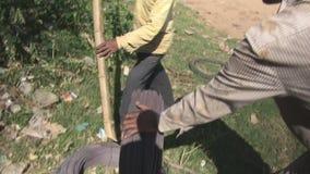 Провод, бамбук, шлюпка, Камбоджа, Юго-Восточная Азия видеоматериал