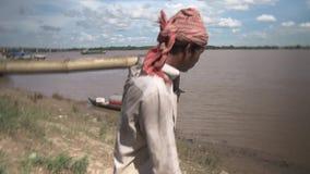 Провод, бамбук, шлюпка, Камбоджа, Юго-Восточная Азия акции видеоматериалы
