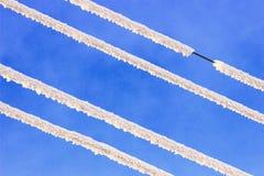 Провод силы снега морозный Стоковое Фото