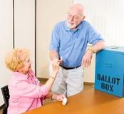 проголосованный стикер избрания i стоковое фото