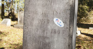 Проголосованный стикер на могиле Стоковые Изображения