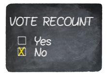 Проголосуйте концепцию повторный подсчёт используя мел на классн классном шифера стоковая фотография